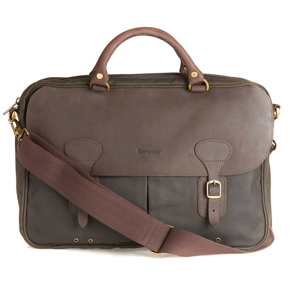 Väska Wax leather briefcase Olive