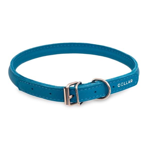 Halsband läder rundsytt  blå