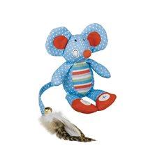Kattleksak Tyg mus fj.svans 18cm blå