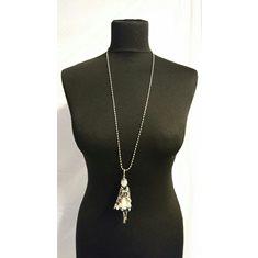 Halsband docka vit/pärlor