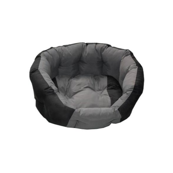 Hundbädd rund grå/svart