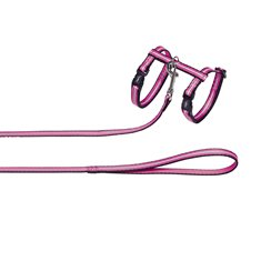 Kattsele nylon reflect set rosa