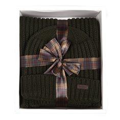 Giftbox Mössa/halsduk Rib knit Green