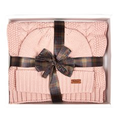 Giftbox Mössa/halsduk Barbour Pink