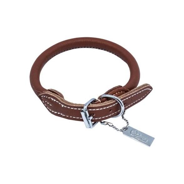 Halsband Rundsytt läder 10mm*60cm  cognac