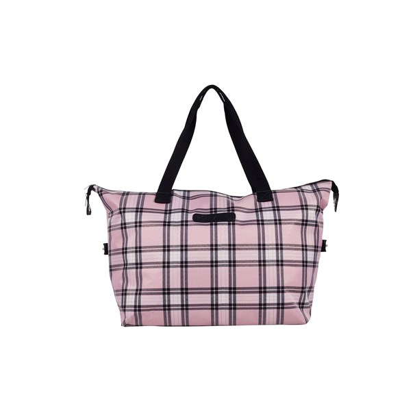 Week-end bag sv/rosa rutig