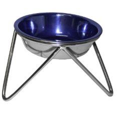Hundskål m. ställning rostfri blå