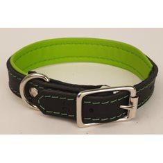 Halsband Läder svart/lime
