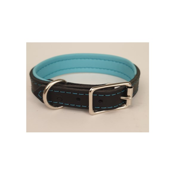 Halsband Läder svart/blå