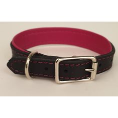 Halsband Läder svart/cerise