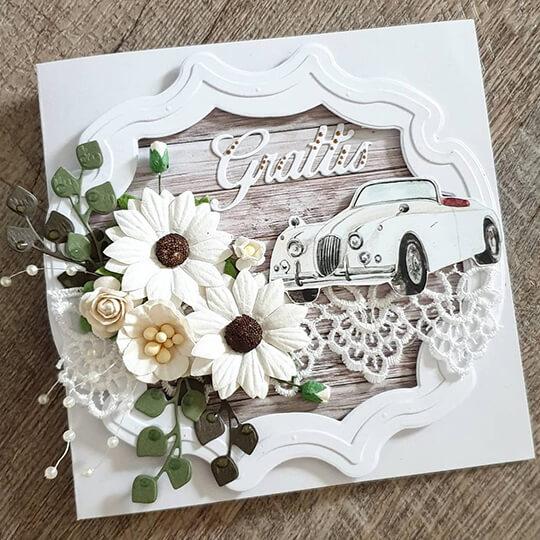 Bröllopskort med bil