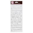 Outline Stickers - Birthday Cupcake - Silver