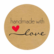 Stickers på rulle - Handmade with Love - 500st - 3,8cm