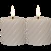 Flamme swirl blockljus 2-pack beige
