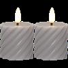 Flamme swirl blockljus 2-pack grå