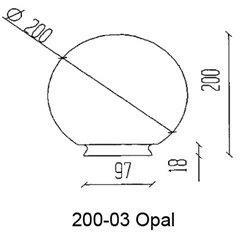 Konsthantverk Reservglas Glob 20cm Opal Matt M Fläns