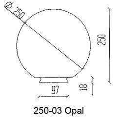 Konsthantverk Reservglas Glob 25cm Opal Matt M Fläns