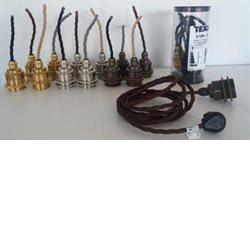 Texa Design Lampupphäng E27 Mässing Tvinnad Brun Sladd 2,5M Lamppropp