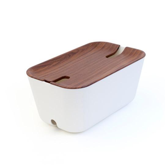 Bosign Kabelgömma M. Hideaway - Vit/Mörkbrun 30X18x13,8 Cm. Plast/Silikon