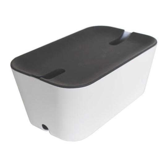 Bosign Kabelgömma M. Hideaway - Vit/Grå 30X18x13,8 Cm. Plast/Silikon