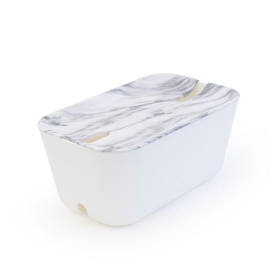 Bosign Kabelgömma M. Hideaway - Vit/Marmor 30X18x13,8 Cm. Plast/Silikon