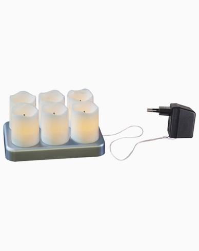 Star Trading vita uppladdningsbara LEDljus 6-pack