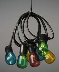 Konstsmide Lysløyfe E14 20 farget LED-pærer, 6V / IP44