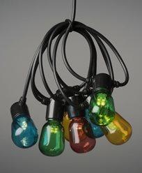 Konstsmide Ljusslinga E14 40 ovala färgade LED, 6V/IP44