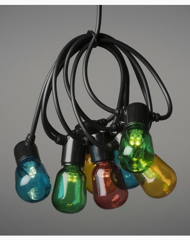 Konstsmide lyssløyfe E14 40 ovale fargede LED-pærer, 6V / IP44