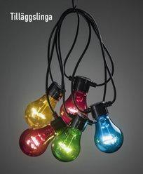 Konstsmide. Tilläggsslinga 10X0,48W färgade LED-lamporIP44. 2397-500