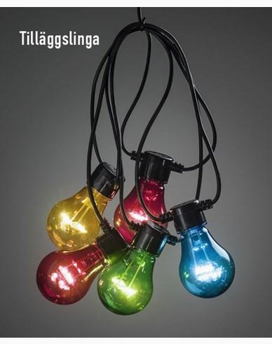 Konstsmide. Ekstra slynge 10 fargede LED-pærer. IP44. 2397-500