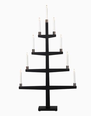 Star Trading TALL, svart tre lysestake inkl 9 LED-pærer