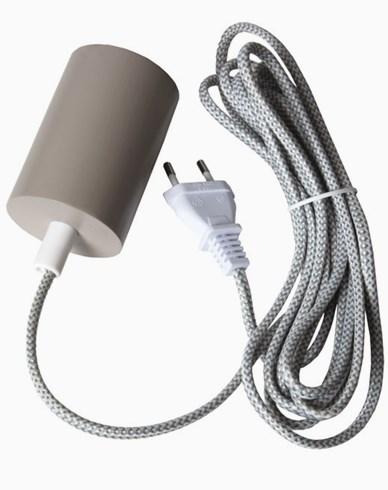 Star Trading SLIM Oppheng E27 3,5m grå/hvit stoffledn. Beige, treverk