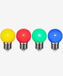 Star Trading LED-pære i PC plast Fargade 4-pakk 1W