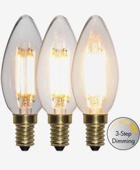 Star Trading LED-pære Mignon 3-trinns klikk dimmer 4W 2100K E14
