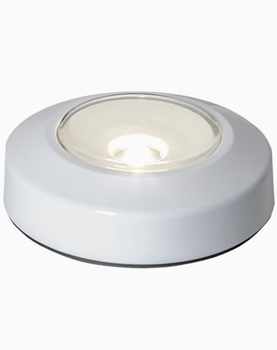 Star Trading Rund LED-puck, trykk on/off, hvit