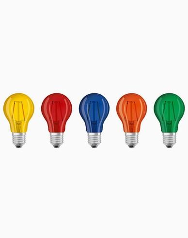 Osram LED-pære NORMAL E27 Fargede 5-PACK blå/grønn/orange/gul/rød
