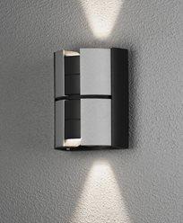 Konstsmide Vidar vägglykta 2x5W LED, dimbar svart/silver