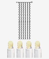 System LED gardin extra 204 ljus 1x4m varmvit vit kabel