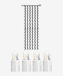 System LED gardin extra 204 ljus 1x4m kallvit vit kabel