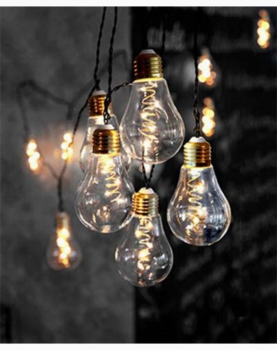 Star Trading Glow Party Light, 360cm 10 lamper. Klar