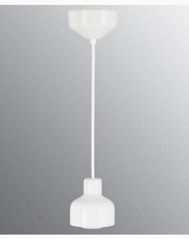 Ifö Electric Ohm Pendel 100 utan kupa, vit sockel/2m vit textilkabel, IP44, E27, 40W