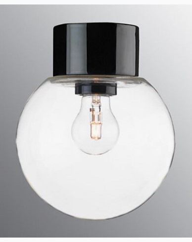Ifö Electric Classic Glob rak Ø180 mm Svart