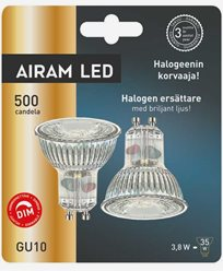 Airam 2-pakke LED-pærer glass PAR16 GU10 3,8W/828