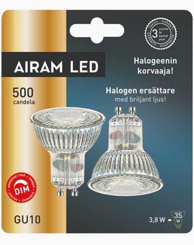 Airam 2-pakke LED-pærer glass PAR16 GU10 3,8W/828