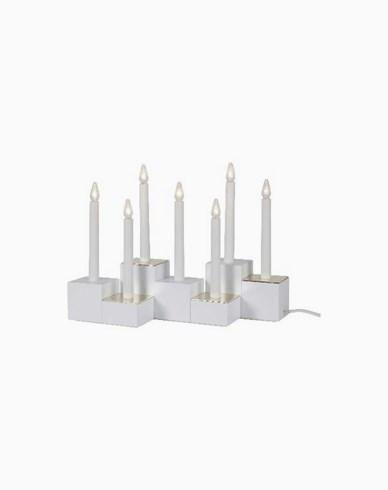 Star Trading Lysestake Klossy, hvit, inkl 7 LED-pærer