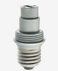 Silverfärgad lampsockel/adapter, porslin, MAXI, E27/G9. 6570