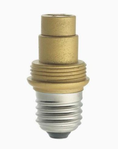 Guldfärgad lampsockel/adapter, porslin, MAXI, E27/G9. 6569