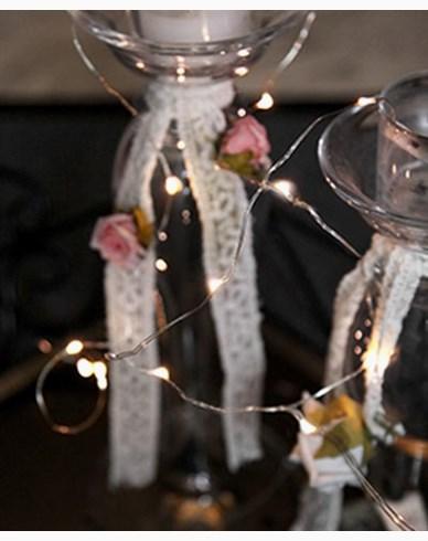 Star Trading String light 12 LED, 110cm, sølv. Batterdrevet