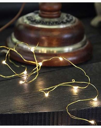 Star Trading String light 12 LED, 110cm, messing tråd batterdrevet